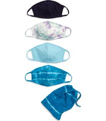 nordstrom 4-pack kids' tie dye face masks, size one size - blue