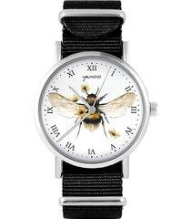 zegarek - bee natural - czarny, nylonowy