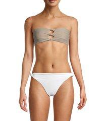 pq women's knotted bikini top - tan - size d