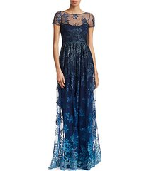 illusion embroidered floor-length gown