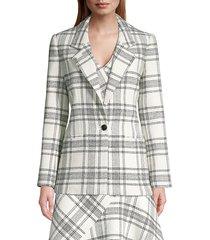rebecca taylor women's tailored windowpane plaid tweed jacket - cream black - size 2