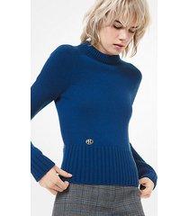 mk pullover in cashmere con monogramma - ottanio (blu) - michael kors