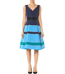 striped silk v-neck a-line dress