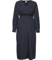 mlxina lia l/s woven midi dress 2f knälång klänning blå mamalicious