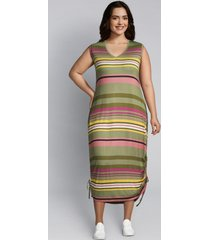 lane bryant women's printed side-tie midi dress 22/24 multi salsa stripe