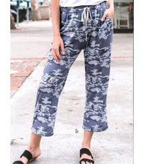 bolsillos laterales de camuflaje informal pantalones