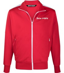 palm angels logo-print zip-up track jacket - red