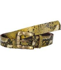 cinturón cuero hebilla roll on amarillo