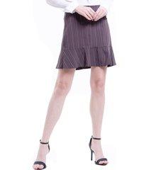 saia 101 resort wear alfaiataria crepe risca giz marrom - marrom - feminino - dafiti