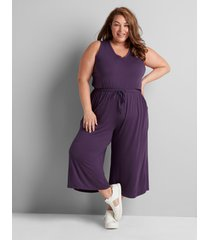 lane bryant women's livi capri jumpsuit 18/20 purple