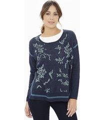 sweater azul ted bodin jackard