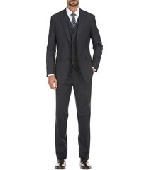 english laundry men's slim-fit windowpane check 3-piece wool suit - grey - size 38 r