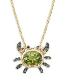 effy women's 14k yellow gold, peridot & black & blue diamond pendant necklace