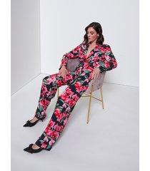 motivi pantaloni palazzo fantasia floreale donna rosa