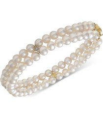 14k gold cultured freshwater pearl (5mm) & diamond accent bracelet