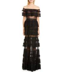 women's zuhair murad off the shoulder tiered gown