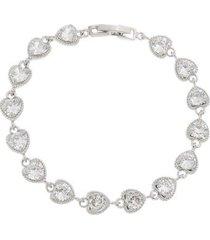 pulseira com pedras delicada corações folheado a ródio branco pu143 - feminino