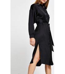 river island womens black long sleeve tie belted shirt midi dress