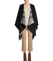 reversible plaid merino wool shawl