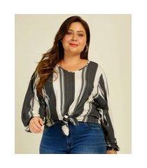 blusa plus size feminina listrada amarração manga longa