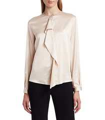 front ruffle silk charmeuse blouse