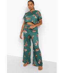 plus tijgerprint pyjama, green