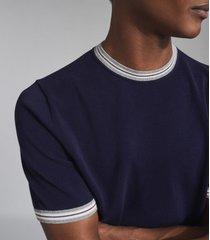 reiss farroe - fine knit tipped t-shirt in navy, mens, size xxl