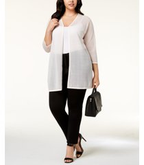 alfani plus size illusion-stripe cardigan, created for macy's