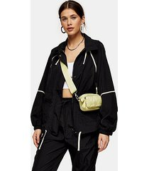 black contrast piping shell jacket - black
