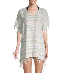 surf gypsy women's tasseled & striped coverup - warm white - size m