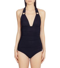 women's dolce & gabbana ruched one-piece halter swimsuit