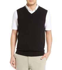 men's big & tall cutter & buck lakemont v-neck sweater vest, size 5xb - black