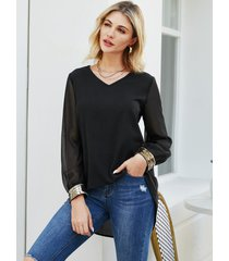 yoins blusa de manga larga con cuello en v semitransparente en negro