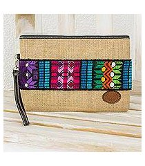 jute and cotton wristlet, 'colorful love' (guatemala)