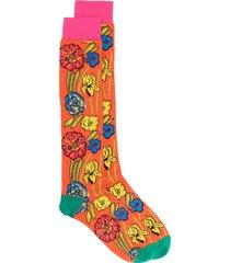 marni floral print socks - orange