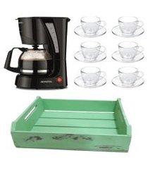 kit 1 cafeteira mondial 110v, 6 xícaras 90 ml com pires e 1 bandeja mdf verde