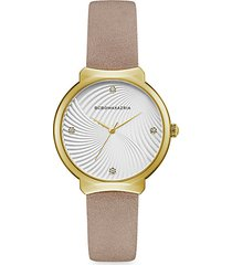 classic goldtone stainless steel leather-strap watch