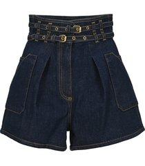 philosophy high waist belted denim shorts