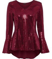 maglia glitterata con maniche a campana (rosso) - bodyflirt
