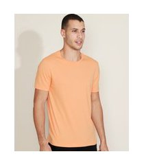 camiseta masculina básica manga curta gola careca laranja claro