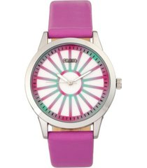 crayo unisex electric fuchsia leatherette strap watch 41mm