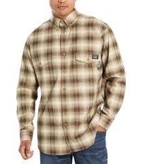 wolverine men's fr plaid long sleeve twill shirt khaki plaid, size m