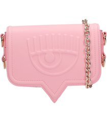 chiara ferragni shoulder bag in rose-pink synthetic fibers