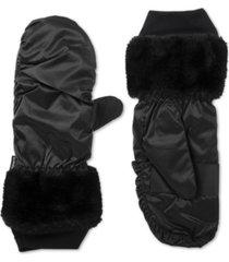 isotoner signature women's sleekheat touchscreen mittens with faux fur cuff