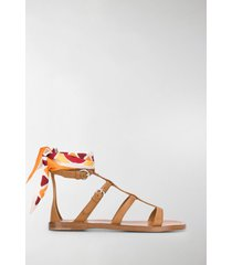 prada ankle scarf flat sandals