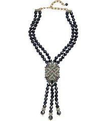 deco two-strand beaded pendant tassel necklace
