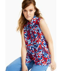 bar iii printed sleeveless button down top, created for macy's