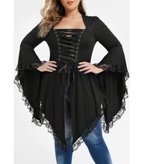 plus size asymmetrical lace up lace panel gothic tee