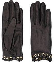 manokhi textured eyelet detail gloves - black