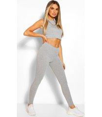 sleeveless crop top and legging co-ord set, grey marl